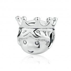 Sterling silver charm Precious prince crown