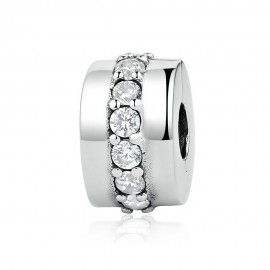 Sterling silver clip with transparent zirconia