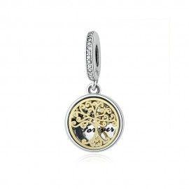 Sterling silver pendant Family forever