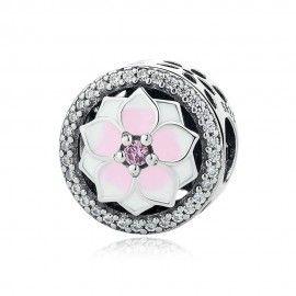 Zilveren bedel Magnolia bloem