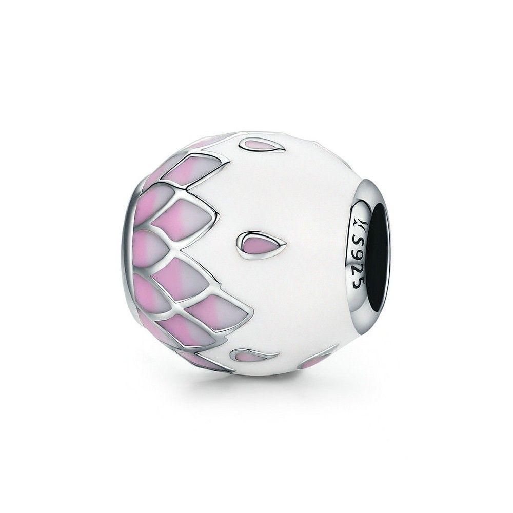 Sterling silver charm Pink & white enamel bal