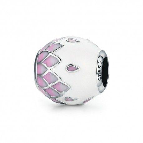Zilveren bedel Roze en witte geëmailleerde bal