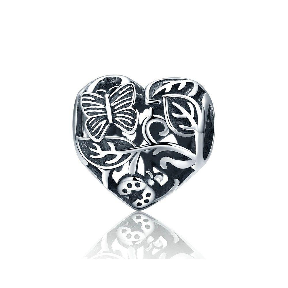 Sterling silver charm Garden heart