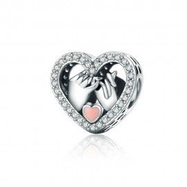 Sterling silver charm Heart with hands