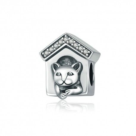 Sterling silver charm Dog home