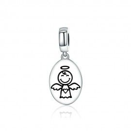 Sterling silver pendant charm Guardian angel