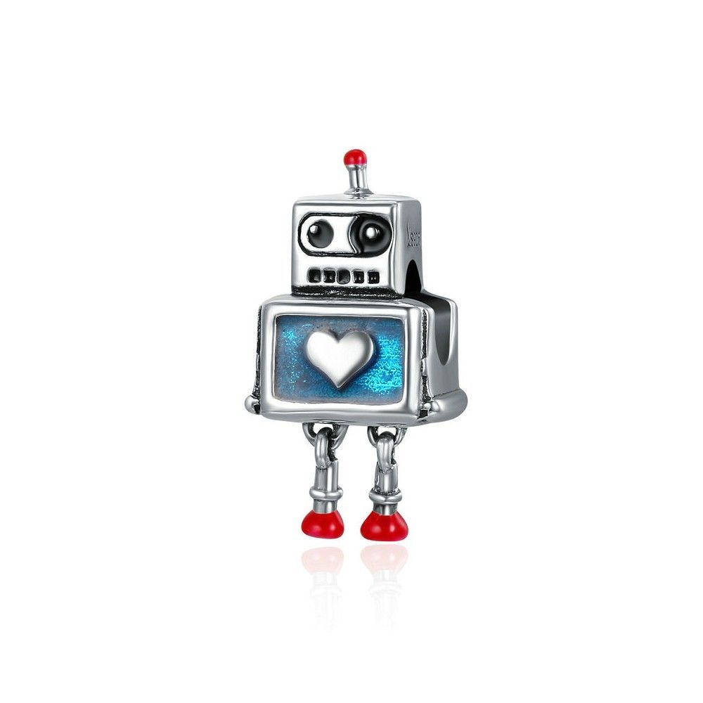 Sterling silver charm Robot with heart