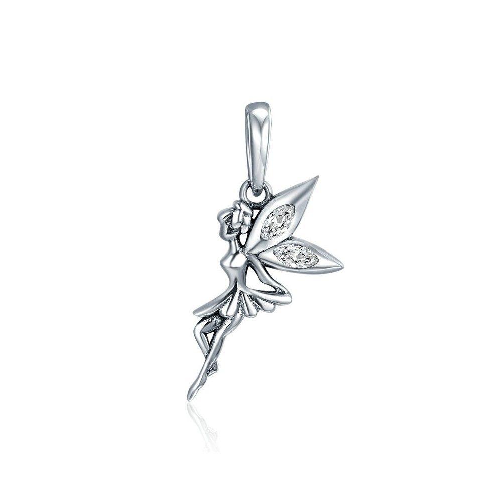 Zilveren hangende bedel Bloemenfee