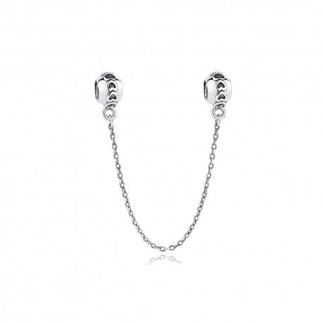 Sterling silver safety chain with hearts