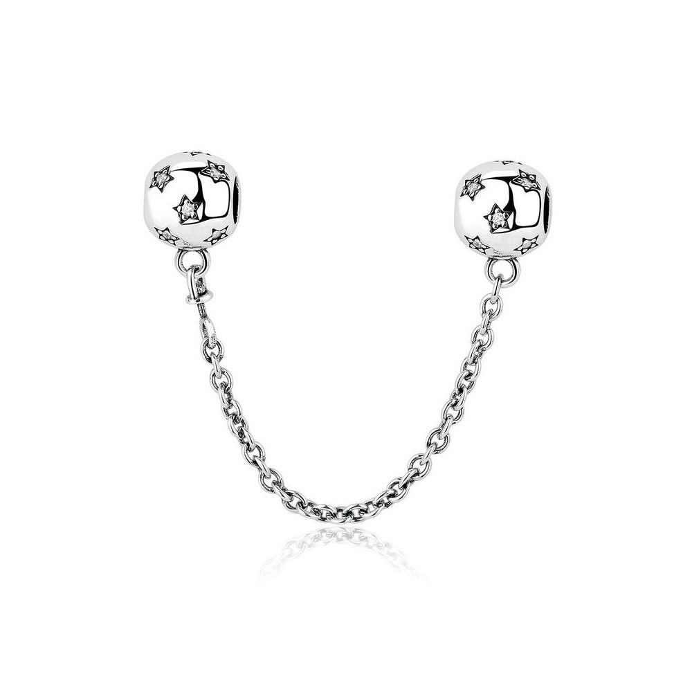 Sterling silver safety chain Charm with stars