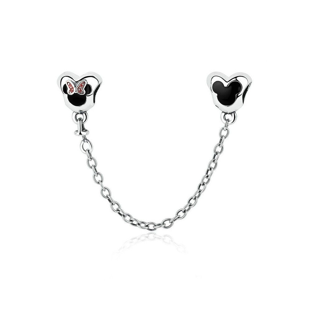 Sterling silver safety chain Charm with Minnie mouse