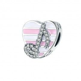 Sterling silver charm Music note heart