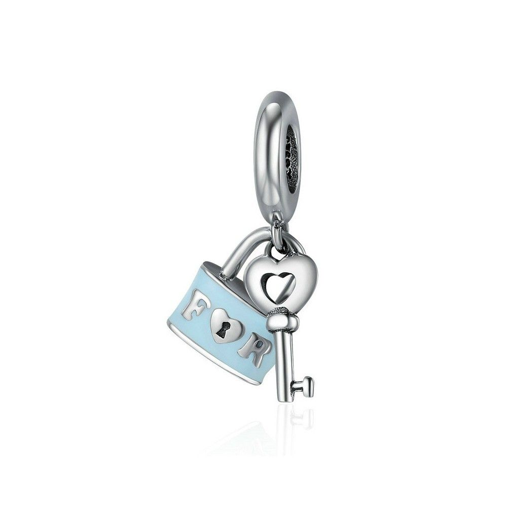 Zilveren hangende bedel Valentijn slot en sleutel