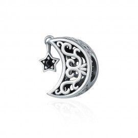 Zilveren bedel Zoete dromen ster en maan