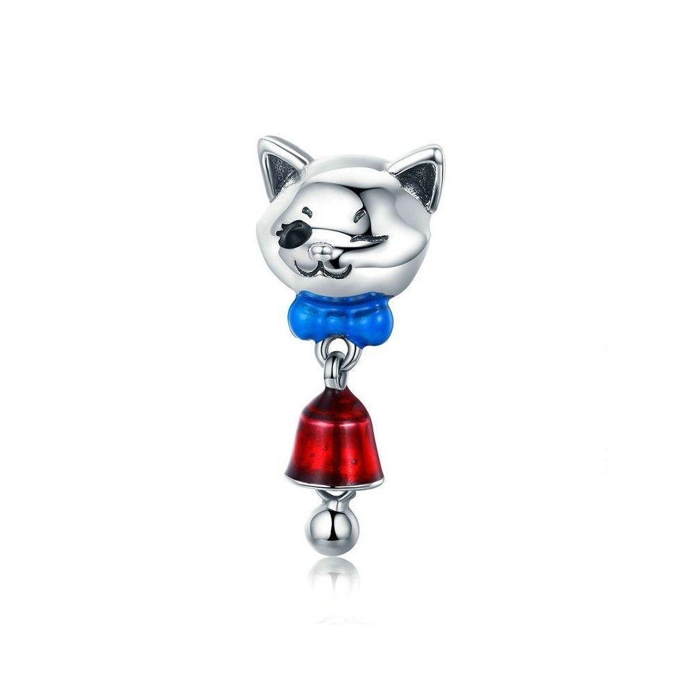 Zilveren hangende bedel Kat met bel
