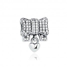 Charm in argento Papillon con cuore