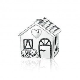 Zilveren bedel Huis met hart
