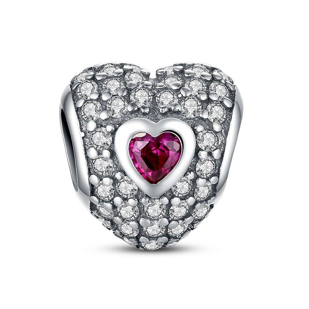 Zilveren bedel Hartvormig