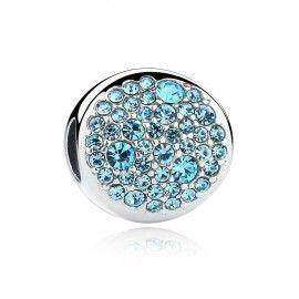 Sterling silver charm Oval sky blue