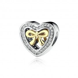 Sterling silver charm Heart with bow
