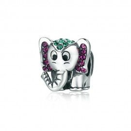 Sterling silver charm Happy elephant