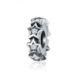 Separador estrellas en plata de ley con piedras de zirconia