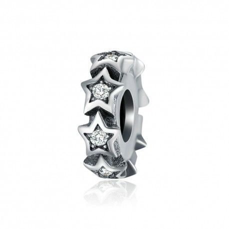 Sterling silver stars spacer with zirconia stones