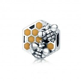 Sterling silver charm Honeycomb