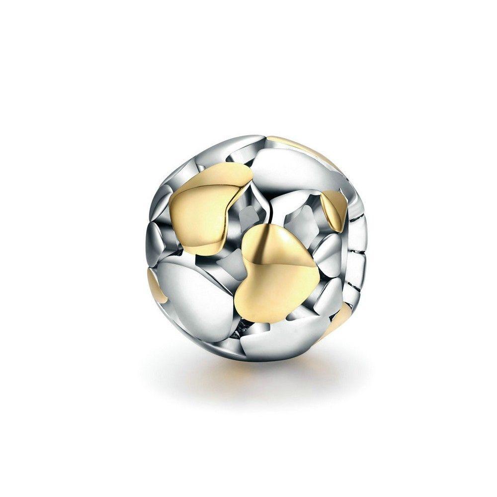 Zilveren bedel Bal met hartjes
