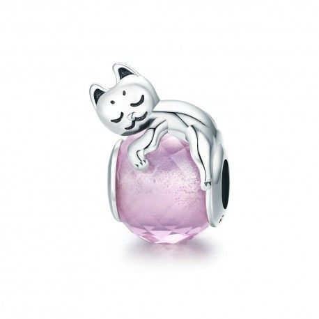 Sterling silver charm Cute cat