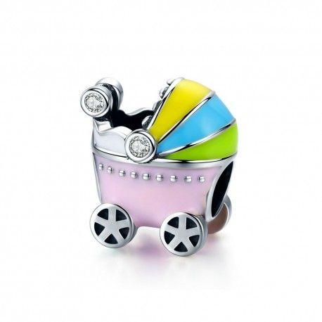 Zilveren bedel Kinderwagen