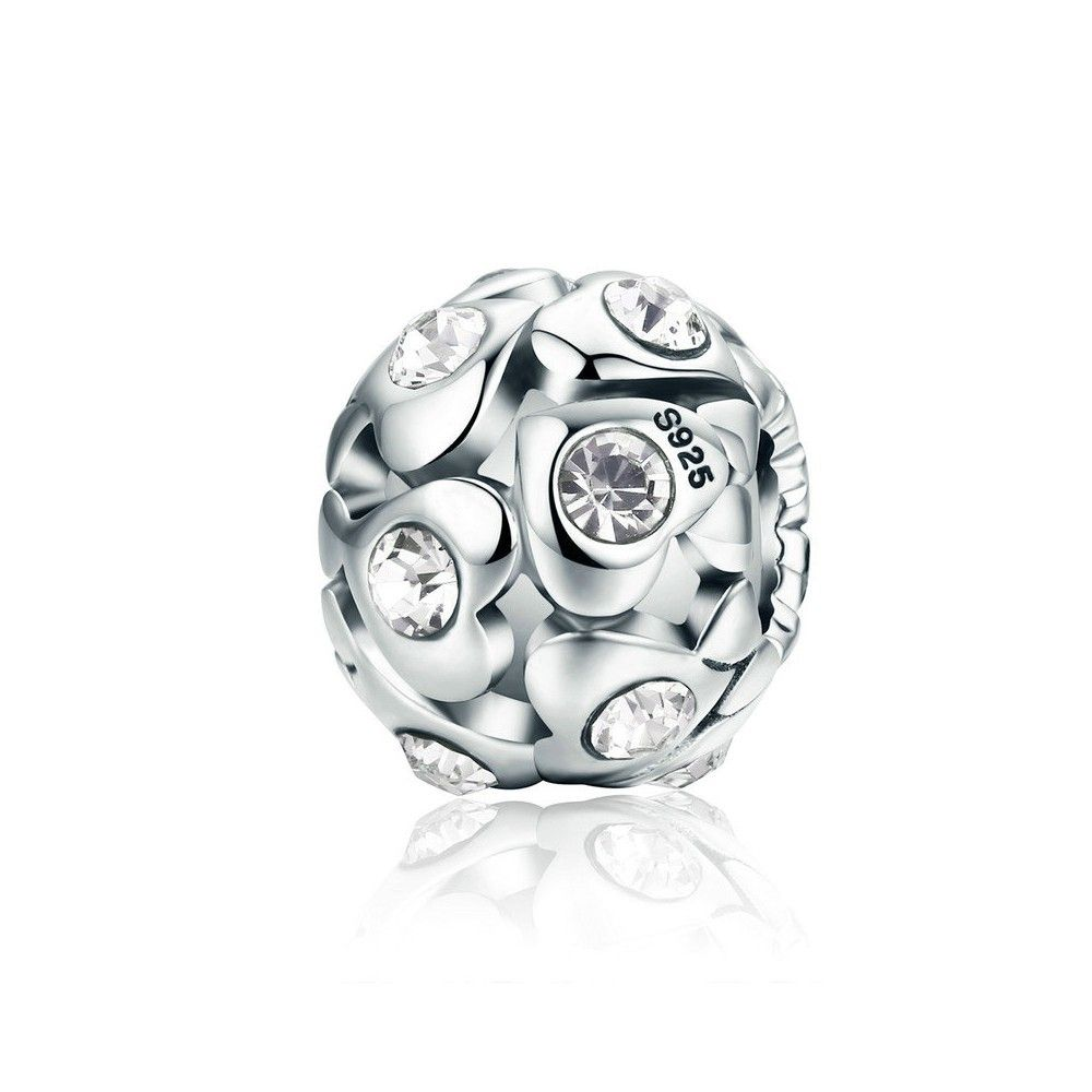 Sterling silver charm Hearts with cubic zircone