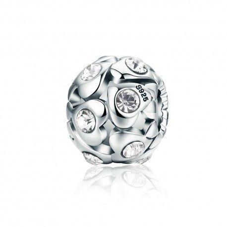 Zilveren bedel Bol met hartjes en zirkonia