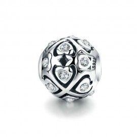Charm en plata de Ley Bola con corazones brillantes