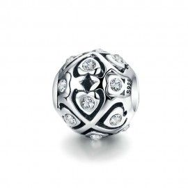 Sterling silver charm Ball with shining hearts