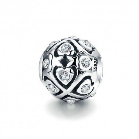 Zilveren bedel Bol met glimmende hartjes