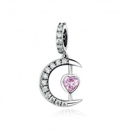 Zilveren hangende bedel Maan met roze hart