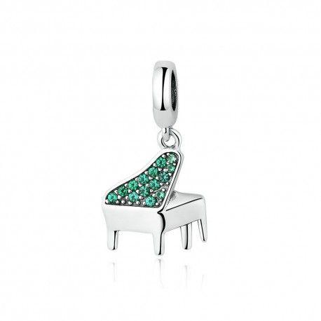 Zilveren hangende bedel Piano