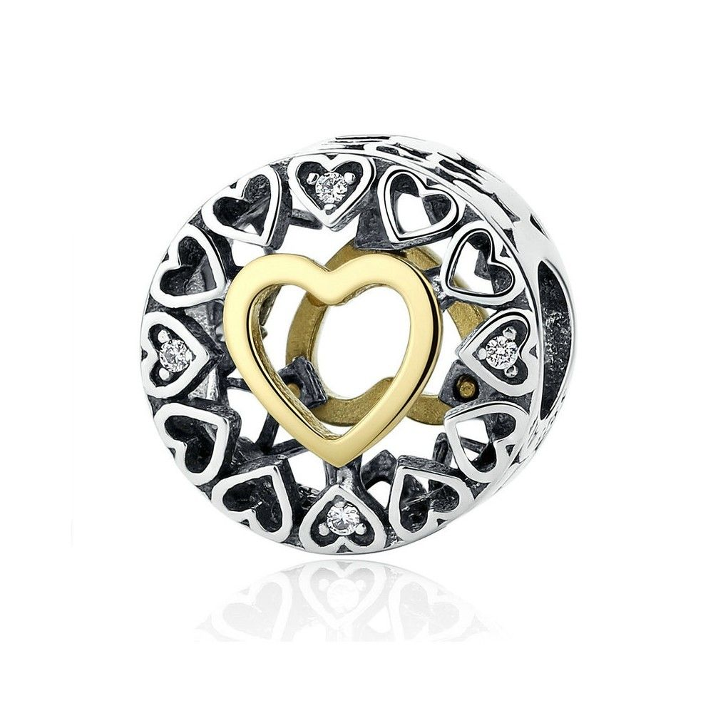 Sterling silver charm Circle heart