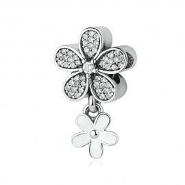 Sterling silver pendant charm Double daisy