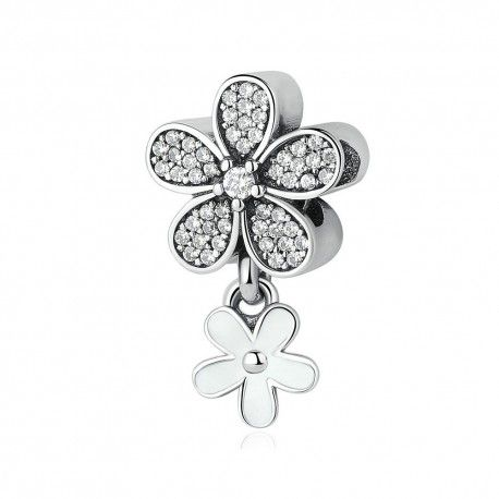 Sterling silver pendant Double daisy