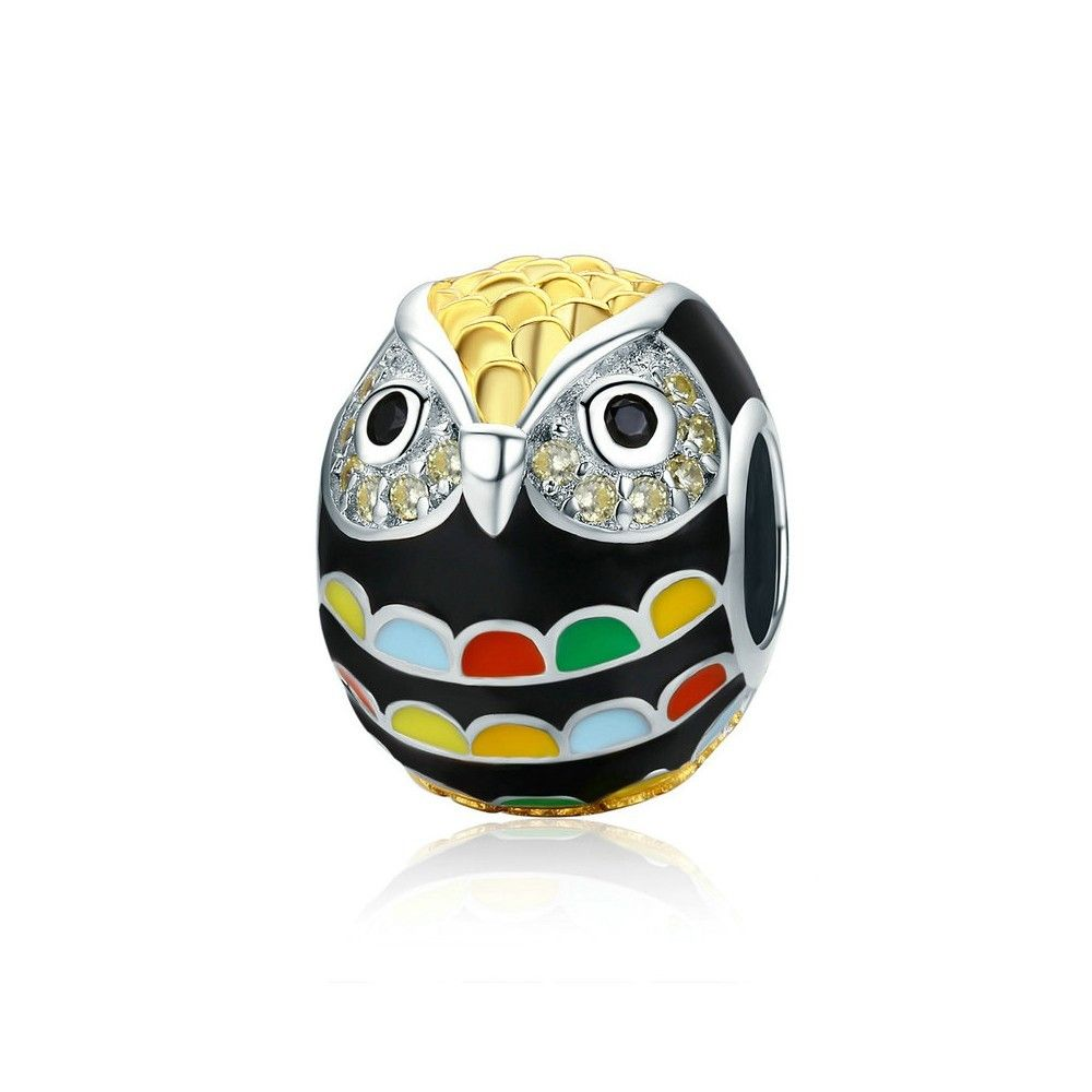 Sterling silver charm Colorful owl