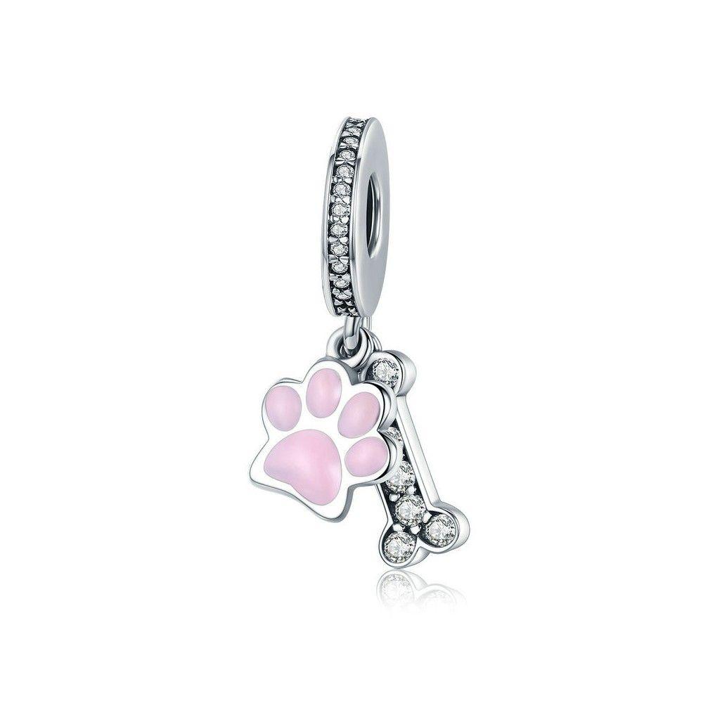 Zilveren hangende bedel Hondenvoetafdruk & hondenbot