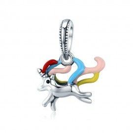 Zilveren hangende bedel Kleurrijke eenhoorn