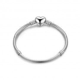 Zilveren bedelarmband met glimmend hart clipsluiting