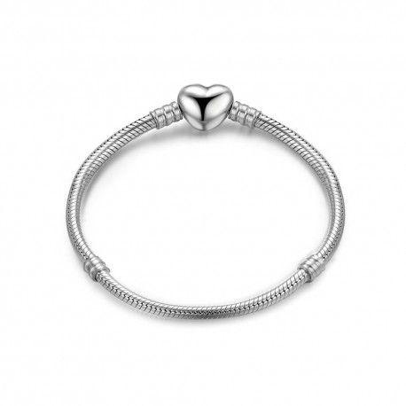 Sterling silver charm bracelet (S925) Shiny heart