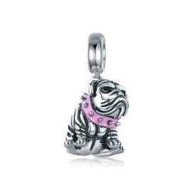 Sterling silver pendant charm Cute English bulldog
