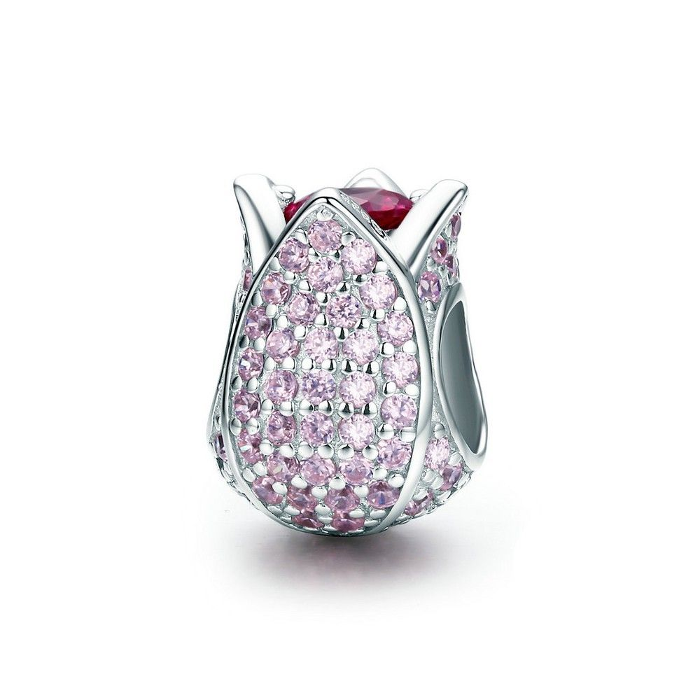 Sterling silver charm Pink tulip