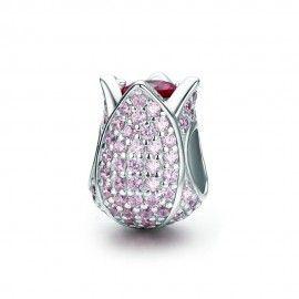 Charm in argento Tulipano rosa