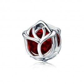 Zilveren bedel Rode roos